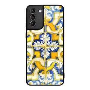 艷黃幾何Samsung Galaxy S21+ 5G 鋼化玻璃殼