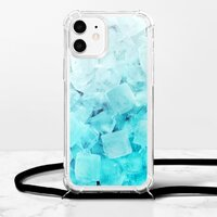 蔚藍冰塊iPhone 12 掛繩透明軟殼
