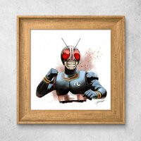 Kamen Rider Black北歐風格木紋相框掛畫 10'' x 10''