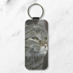 黑貓 長方形皮鑰匙圈