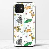 廢物貓貓騎乘系列(白色)iPhone 12 極光鋼化玻璃殼