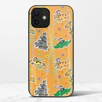 廢物貓貓騎乘系列(黃色)iPhone 12 極光鋼化玻璃殼