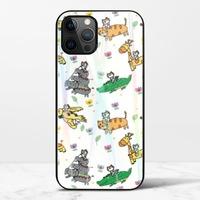 廢物貓貓騎乘系列(白色)iPhone 12 Pro 極光鋼化玻璃殼