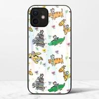 廢物貓貓騎乘系列(白色)iPhone 12 mini 極光鋼化玻璃殼
