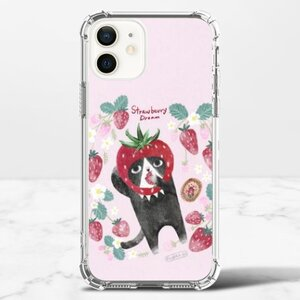草莓。喵 iPhone 12 透明防撞殼(TPU軟款)