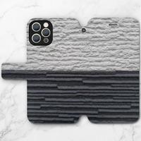 黑與白iPhone 12 Pro Max 皮紋翻盖殼
