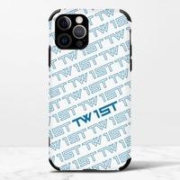 滿版LOGO(藍)-iPhone 12 Pro Max 皮紋矽膠殼