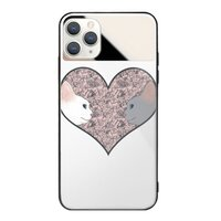 Cat lovers in pinky love heartiPhone 11 Pro Max 鏡子鋼化玻璃殼