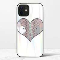 Cat lovers in pinky love heartiPhone 12 mini 極光鋼化玻璃殼