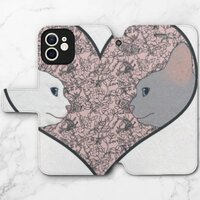Cat lovers in pinky love heartiPhone 12 mini 皮紋翻盖殼