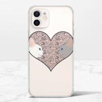 Cat lovers in pinky love heartiPhone 12 mini 透明殼(TPU軟款)