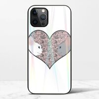 Cat lovers in pinky love heartiPhone 12 Pro Max 極光鋼化玻璃殼