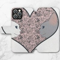 Cat lovers in pinky love heartiPhone 12 Pro Max 皮紋翻盖殼