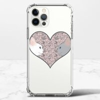 Cat lovers in pinky love heartiPhone 12 Pro Max 透明防撞殼(TPU軟款)
