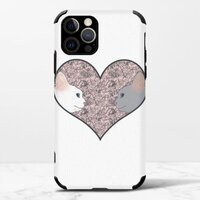Cat lovers in pinky love heartiPhone 12 Pro 皮紋矽膠殼