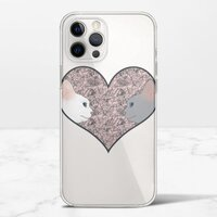 Cat lovers in pinky love heartiPhone 12 Pro 透明殼(TPU軟款)
