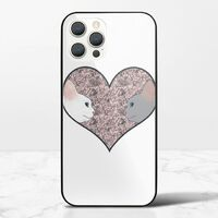 Cat lovers in pinky love heartiPhone 12 Pro 鋼化玻璃殼