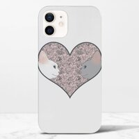 Cat lovers in pinky love heartiPhone 12 光面硬身殼