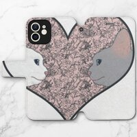 Cat lovers in pinky love heartiPhone 12 皮紋翻盖殼