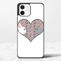 Cat lovers in pinky love heartiPhone 12 mini 保護殼