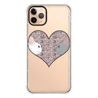 Cat lovers in pinky love heartiPhone 11 Pro Max 透明防撞殼(黑邊鏡頭)