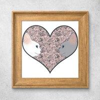 Cat lovers in pinky love heart北歐風格木紋相框掛畫 10'' x 10''