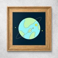 Simple PlanetNordic Style Wood Grain Photo Frame Art Print 10'' x 10''